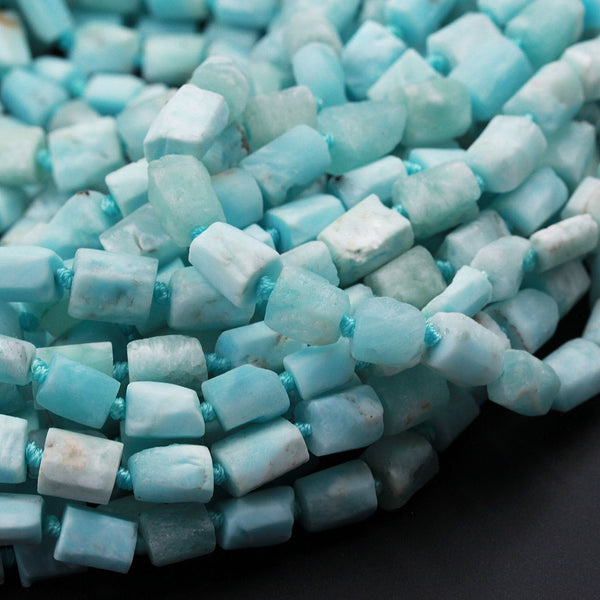 "Matte Natural Blue Hemimorphite Tube Nugget Raw Rough Frosty Organic Beads Faceted Rectangle Cylinder Baby Pastel Blue Gemstone 16"" Strand"
