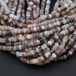"Natural Botswana Agate 6mm Rondelle Small Wheel Saucer Earthy Smoky Gray Creamy White Yellow Red Banded Agate Beads 16"" Strand"