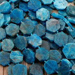 "Matte Raw Natural Blue Apatite Octagon Hexagon 18mm Beads Geometric Cut Flat Slice Gemstone 16"" Strand"