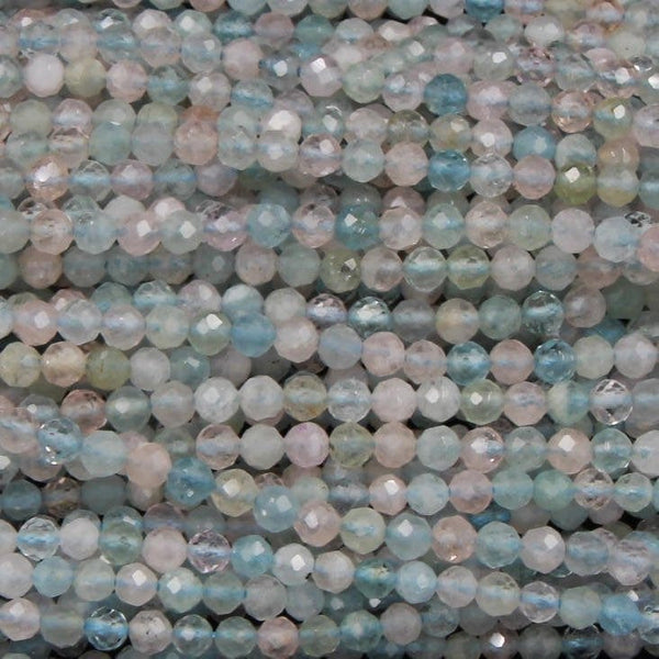 "Micro Faceted Tiny Natural Pastel Pink Blue Beryl Round Beads 4mm Faceted Round Beads Laser Diamond Cut Gemstone 16"" Strand"