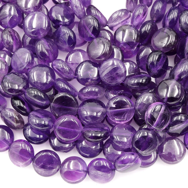 "AA Natural Amethyst Coin Beads Puffy Coin 10mm 12mm Nugget Good For Earrings Genuine Real Rich Purple Amethyst Gemstone Beads 16"" Strand"