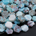 "Natural Blue Larimar Hexagon Octagon Flat Disc Nuggets Unique Creative Designer Slice Beads Real Genuine Larimar Earring Beads 16"" Strand"
