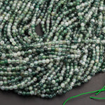 "AAA Natural Green Moss Agate 2mm 3mm Round Beads Green Gemstone High Polish Plain Smooth Round Beads Spheres 16"" Strand"