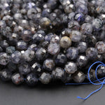 "Micro Faceted Gemstone Natural Blue Iolite 6mm 7mm Round Beads Large Genuine Real Iolite Faceted Round Gemstone Beads 16"" Strand"