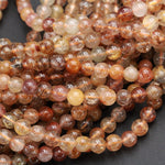 "Multicolor Natural Red Golden Yellow Rutile Quartz 4mm 5mm 6mm Round Beads Tons of Sharp Rutilated Hair Needle 16"" Strand"
