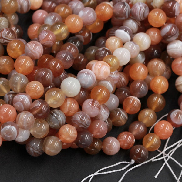 "Rare Natural Fiery Orange Red Botswana Agate Round Beads 8mm Amazing Veins Bands  16"" Strand"