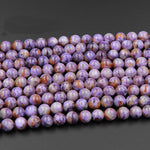 "A Grade Natural Charoite Round Beads Purple Russian Charoite 6mm Round 8mm Round 10mm 12mm 14mm W Orange Garnet Matrix beads 16"" Strand"