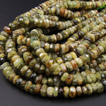 "Large Faceted Natural Green Garnet Rondelle 10mm Nuggets Beads 16"" Strand"