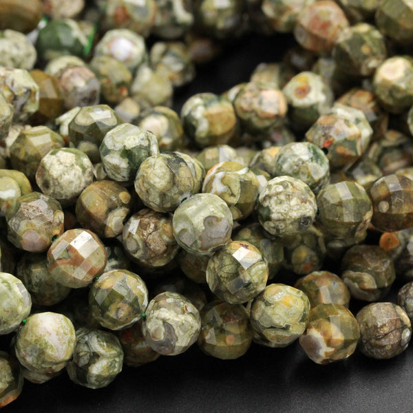 "Geometric Lantern Faceted Natural Rainforest Rhyolite Forest Green Orange Jasper 10mm Round Bead Sparkling Natural Gemstone 16"" Strand"