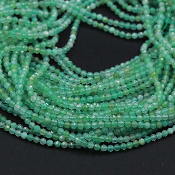 "Micro Faceted Natural Australian Green Chrysoprase Faceted Round 2.5mm Beads Diamond Cut Gemstone Beads 16"" Strand"