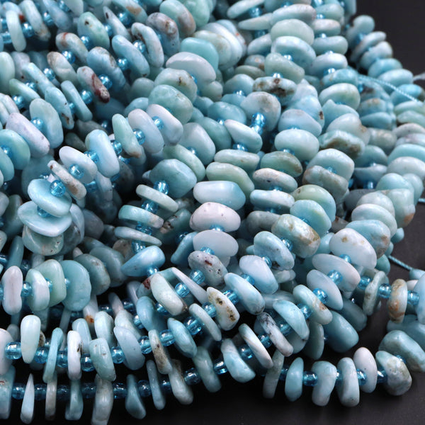 "Genuine Natural Blue Larimar Rondelle Nuggets Polished Disc Saucer Center Dilled Freeform Circle Coin Beads Real Larimar Stone 16"" Strand"