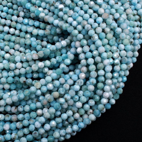 "Natural Larimar Faceted 4mm Round Beads Genuine Natural Blue Larimar Gemstone A Grade High Quality 16"" Strand"