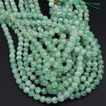 "Natural Green Phantom Quartz  6mm Round Beads 7-8mm Round Beads Juicy Delicious Spring Green Color Full 16"" Strand"