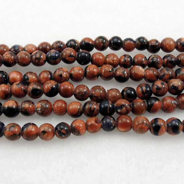 "Bicolor Golden Blue Goldstone 4mm Round Beads 16"" Strand"