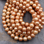 "Large Gold Pearl 10mm Off Round Potato Pearl Shimmery Pearly Iridescent Sun Kissed Gold Genuine Freshwater Pearl 16"" Strand"