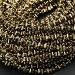 "Titanium Pyrite 4mm Triangle Beads High Quality Small Triangle Faceted Sparkling Pyrite Natural Gemstone Beads 16"" Strand"