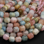 "Natural Aquamarine Morganite Beryl Barrel Drum Bullet Tube Nugget Beads 10mm 12mm 14mm  Multicolor Blue Green Pink Peach Gemstone 16"" Strand"