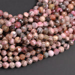 "Micro Faceted Natural Pink Rhodochrosite 6mm Faceted Round Beads Laser Diamond Cut Gemstone 16"" Strand"
