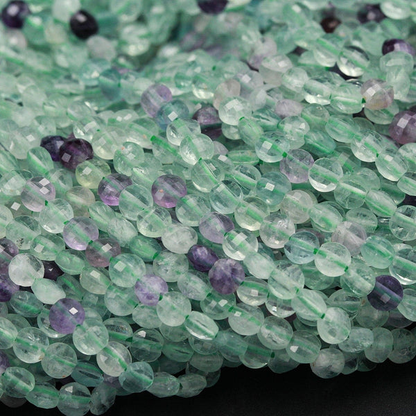 "Natural Fluorite Micro Faceted 4mm Coin Flat Disc Dazzling Facets Small Stunning Gemmy Green Purple Gemstone Diamond Cut Gemstone 16"" Strand"