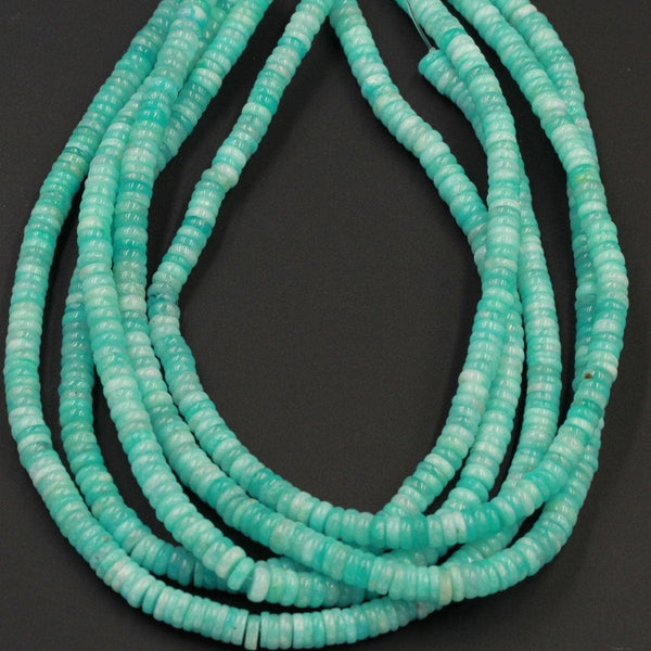 "Natural Peruvian Amazonite Heishi Rondelle 5mm 6mm 7mm Beads Superior A Grade Genuine Sea Blue Green Gemstone Center Drilled Disc 15"" Strand"