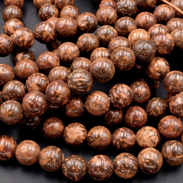 "Natural Brown Leaf Jasper 4mm 6mm 8mm 10mm Round Beads Earthy Red Brown Stone 16"" Strand"