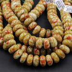 "Rare Natural Russian Blood Serpentine Jade 10mm extra large 18mm Rondelle Beads Red Mustard Green Jade From Russia 16"" Strand"