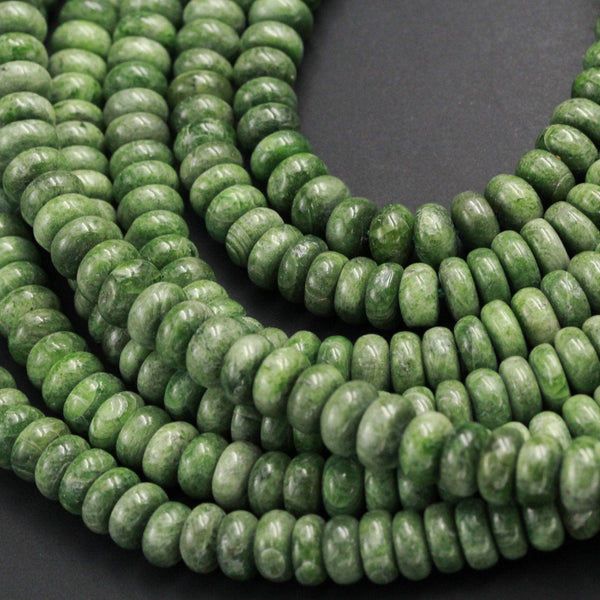 "Natural Chrome Diopside 8mm Beads Smooth Rondelle Genuine Real Green Chrome Diopside Gemstone Beads 16"" Strand"