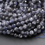 "A Grade Natural Blue Iolite 6mm 7mm Round Beads Micro Faceted Gemstone Large Genuine Real Iolite Faceted Round Gemstone Beads 16"" Strand"