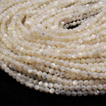 "Natural Creamy White Mother of Pearl Shell Round Beads 4mm High Quality Iridescent Gemstone 16"" Strand"