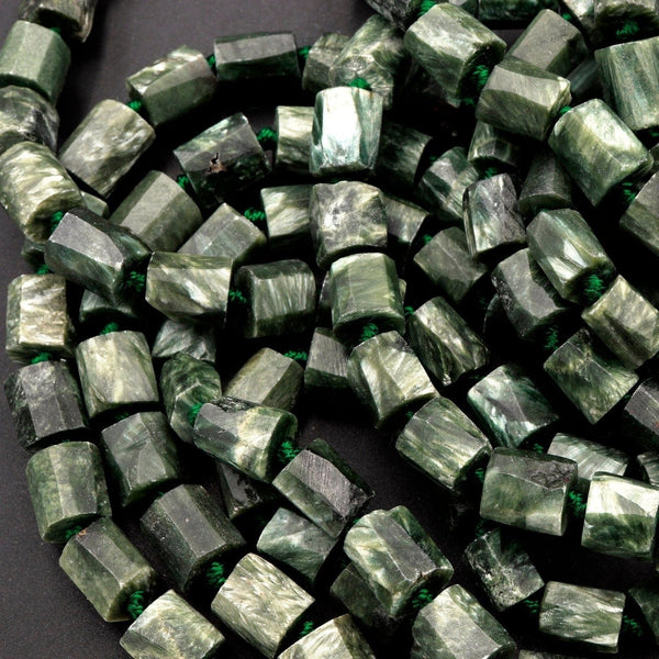 "AAA Natural Seraphinite Beads Faceted Tube Matte Finish Nuggets Beads Real Genuine Russian Green Seraphinite Gemstone Beads 16"" Strand"