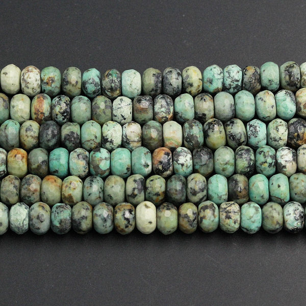 "Natural African Turquoise 8mm 10mm 12mm Faceted Rondelle Large Rondelle Beads High Quality Earthy Blue Green Brown Gemstone 16"" Strand"