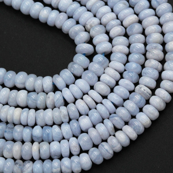 "Natural Blue Lace Agate 5mm x 3mm Rondelle Beads,  6mm x 4mm Rondelle Beads 16"" Strand"