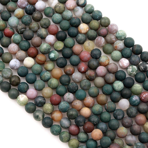 "Matte Indian Agate 4mm 6mm 8mm 10mm 12mm Round Beads Natural Green Pink Red Brown Purple Agate 16"" Strand"