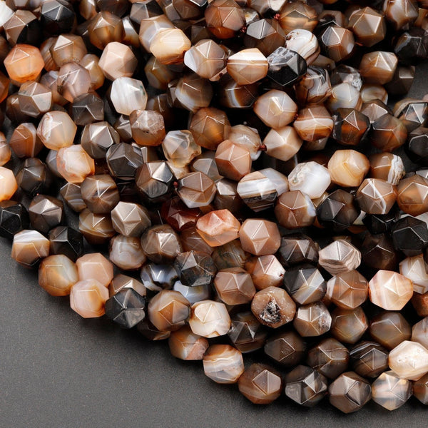 "Star Cut Natural Tibetan Agate Beads Faceted 8mm Rounded Nugget Sharp Facets Brown Black Agate 15"" Strand"