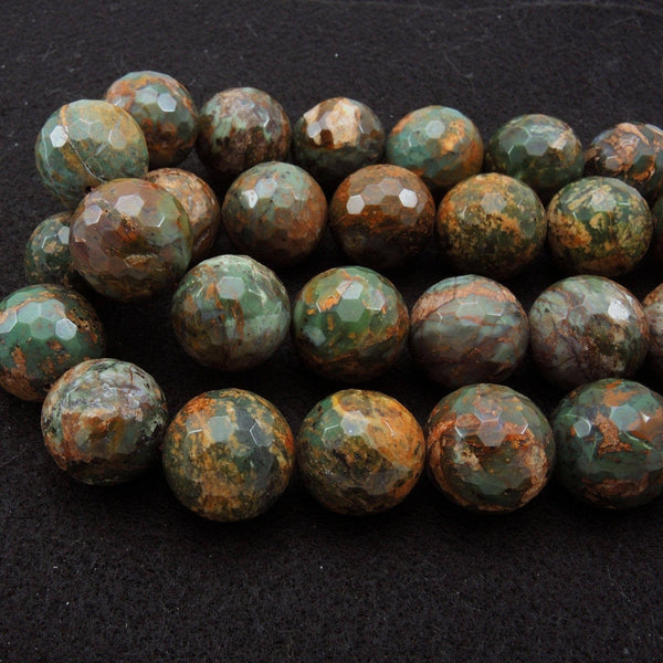 "Rare Natural African Green Opal Faceted Round Beads 8mm 12mm 20mm Large Faceted Round Beads 16"" Strand"