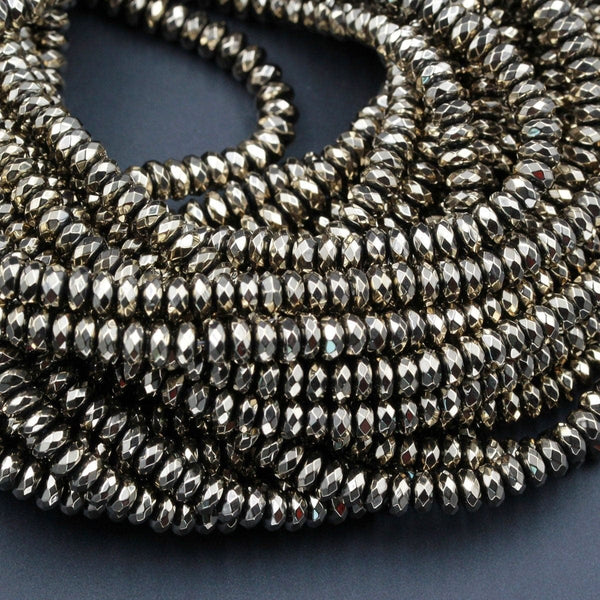 "Titanium Pyrite Faceted 4mm 6mm 8mm Rondelle beads Thin Faceted Rondelle Diamond Micro Cut Sparkling Natural Gemstone 16"" Strand"