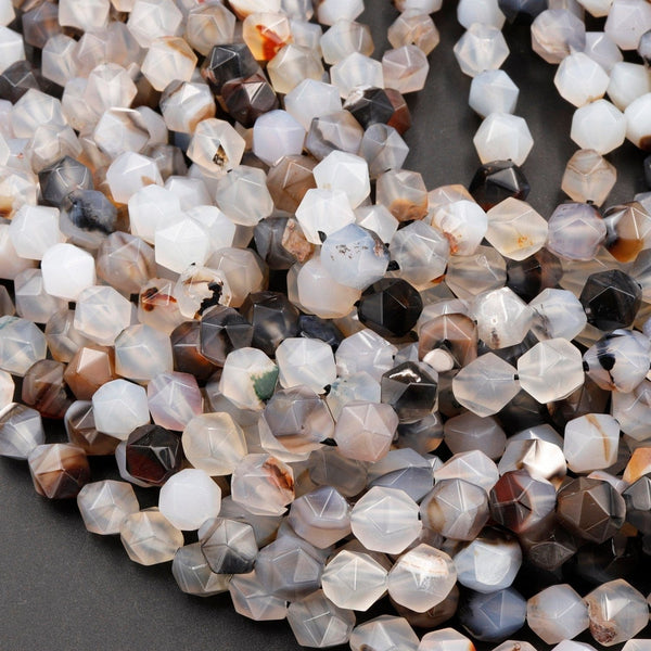 "Star Cut Natural Montana Agate Beads Faceted 8mm Rounded Nugget Sharp Facets White Black Agate 15"" Strand"