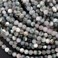 "Matte Green Moss Agate 6mm 8mm Round Beads Natural Green White Moss Agate Translucent Gemstone 16"" Strand"