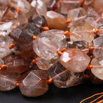 "Natural Brazilian Quartz Octagon Thick Cushion Cube Square Dice Beads Golden Red Phantom Quartz Rutile Quartz Natural Crystal 16"" Strand"