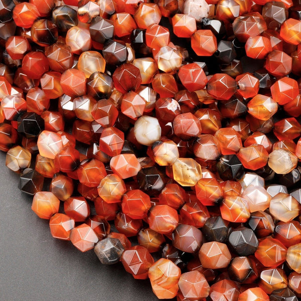 "Star Cut Natural Tibetan Agate Beads Faceted 8mm Rounded Nugget Sharp Facets Red Black Agate 15"" Strand"