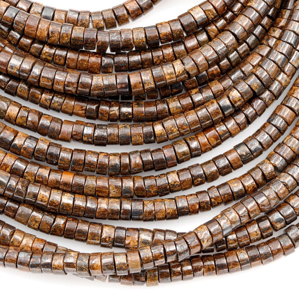 "Natural Bronzite Beads 4mm Heishi Rondelles High Quality A Grade 16"" Strand"