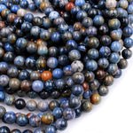 "Natural Sunset Dumortierite Round Beads 4mm 6mm 8mm 10mm 12mm Round Beads Rare Earthy Blue Rusty Orange Natural Stone 16"" Strand"