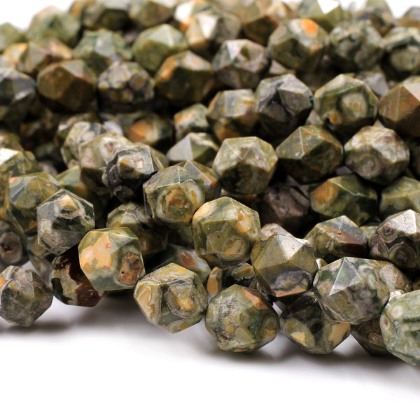 "Natural Rainforest Rhyolite Jasper Faceted Nugget Star Cut Geometric Beads Large Facets 8mm 10mm Faceted Beads 16"" Strand"