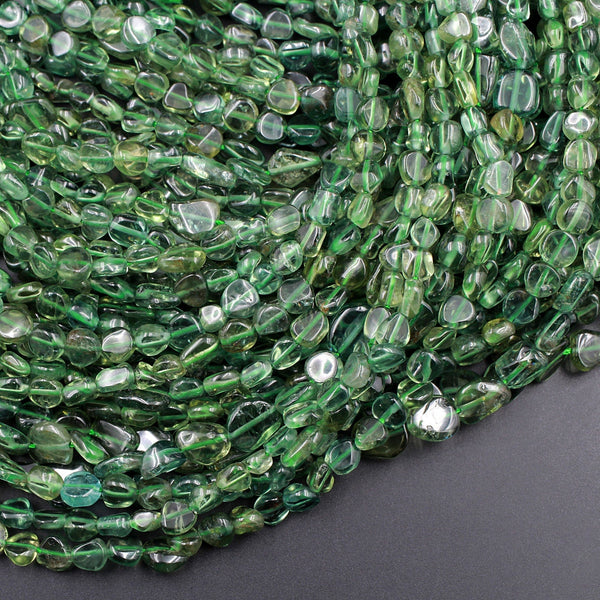 "Rare Green Apatite Freeform Nugget Beads Thin Slice Natural Green Gemstone Polished Beads Unusual Green Stone 16"" Strand"