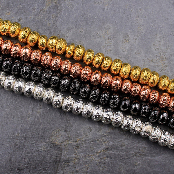 "Titanium Lava Rondelle Beads 8mm Natural Volcanic Rock Stone Metallic Gold Silver Gunmetal Rose Gold Electroplated 16"" Strand"