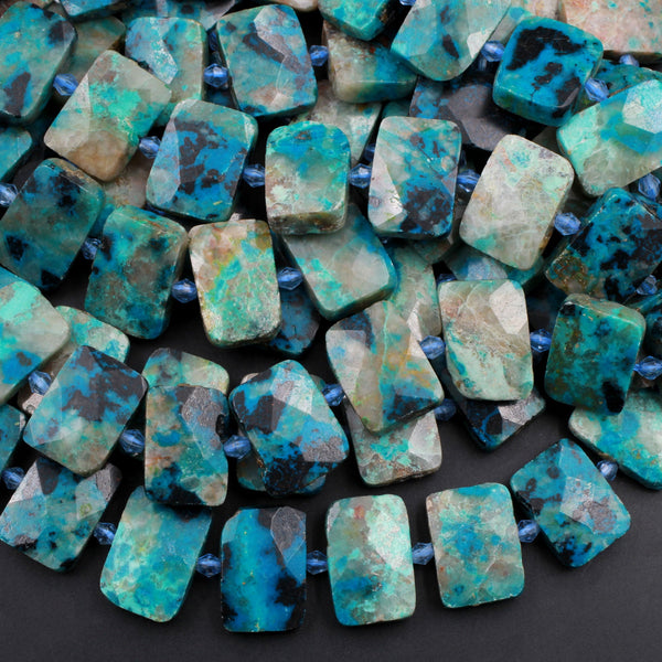 "Faceted Natural Chrysocolla Rectangle Beads Cushion Slab Nugget From Arizona Copper Mine Vibrant Blue Green Gemstone 16"" Strand"