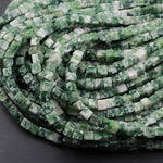 "Natural Green Tree Agate 4mm Dice Square Cube Beads Organic 100% Natural Green White Gemstone Beads 16"" Strand"