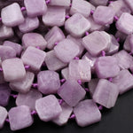 "Natural Violet Purple Pink Kunzite  Square Cushion Beads Octagon Hand Cut Slice Gemstone 16"" Strand"