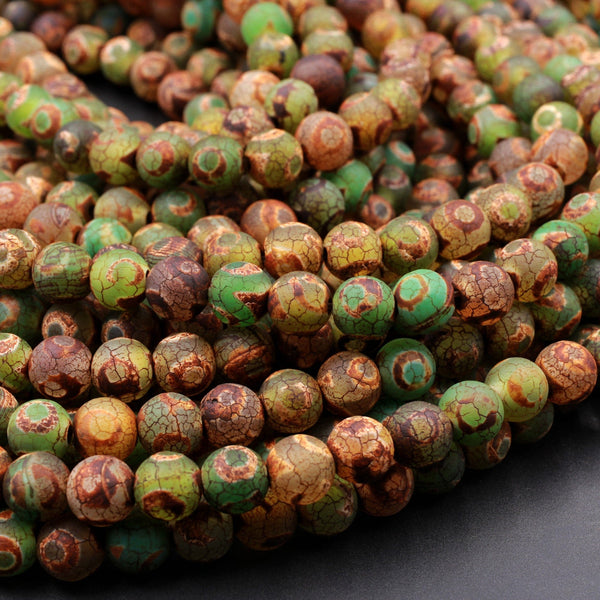 "Tibetan Agate 6mm 8mm 10mm Round Beads Dzi Agate Green Brown Eye Matte Mala Antique Boho Beads 16"" Strand"
