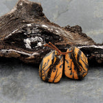Drilled Rare Natural Utah Black Feather Jasper Earring Cabochon Cab Pair Freeform Matched Bead Pair American Jasper